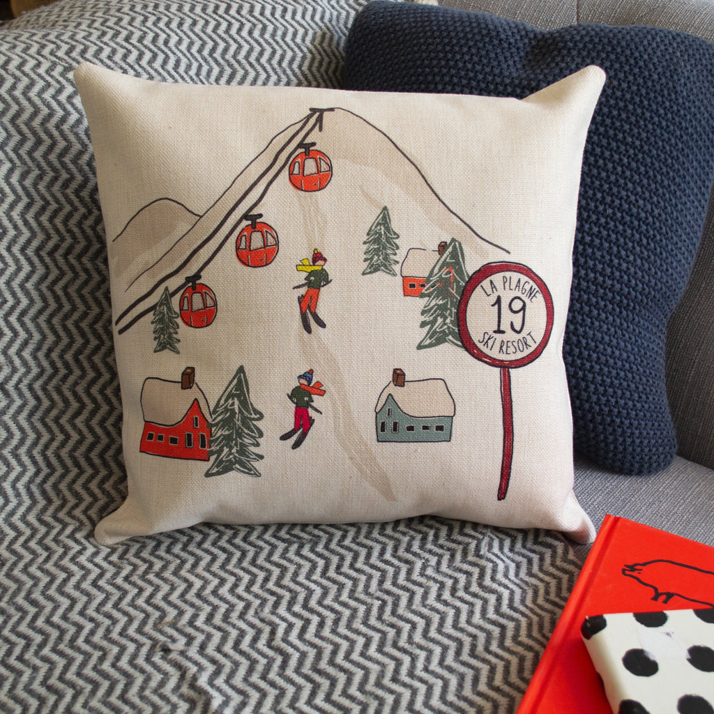 Personalised Ski Scene Cushion, cushion, - ALPHS