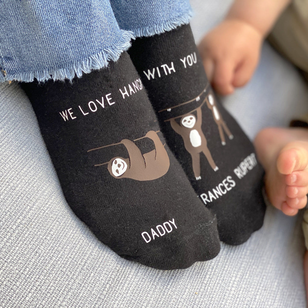 Personalised Daddy and Me Sloth Socks