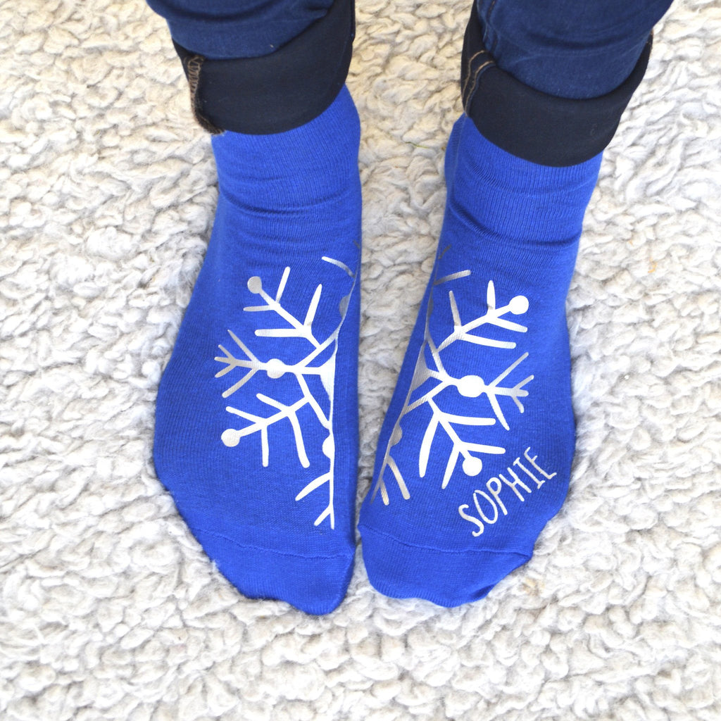 Personalised Silver Snowflake Socks, socks, - ALPHS