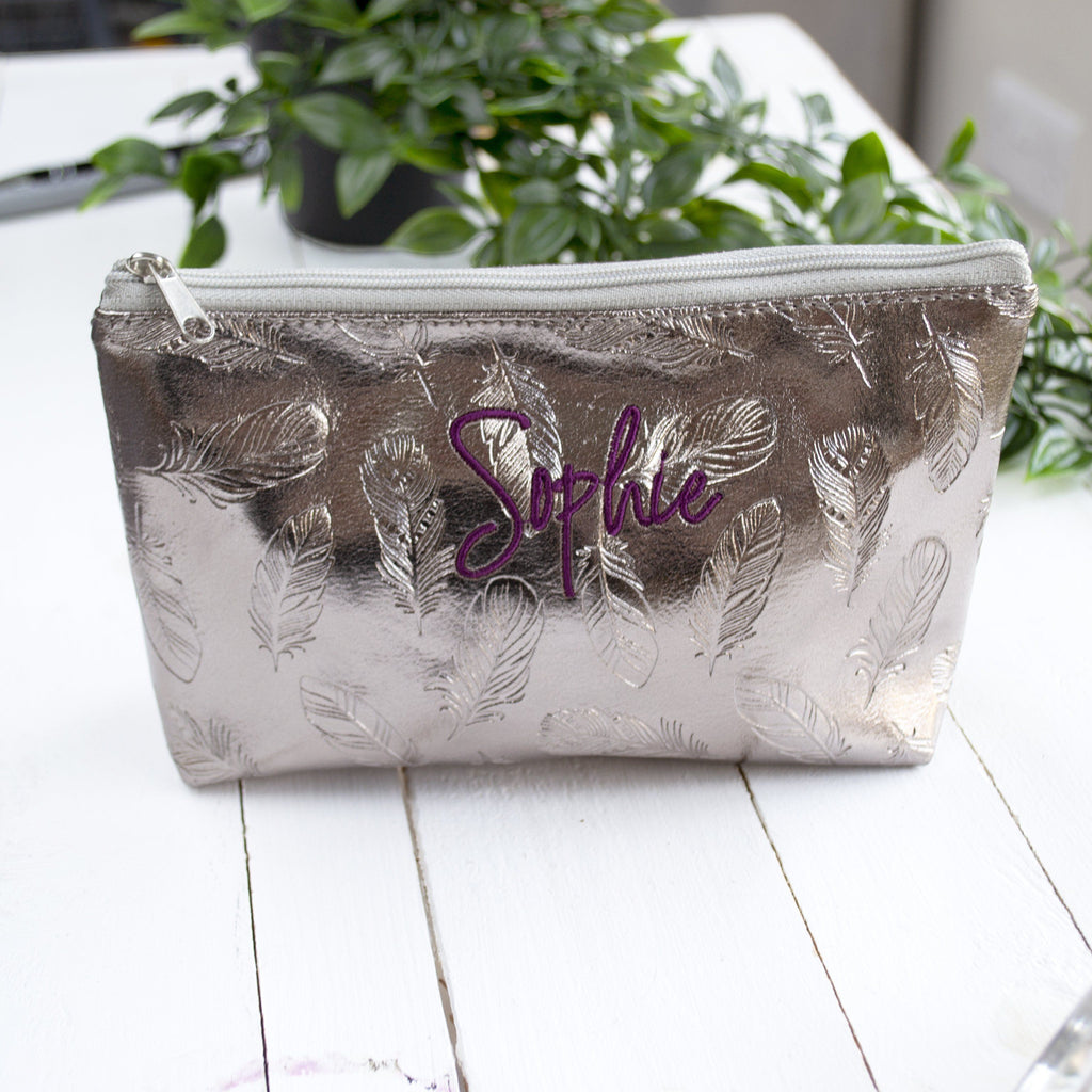 Personalised Embroidered Feather Metallic Make Up Bag