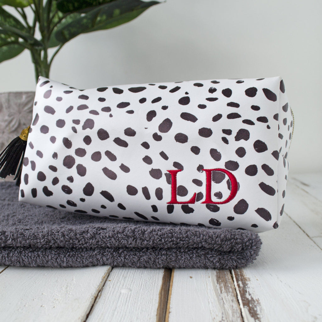 Personalised Dalmation Print Make Up Bag, Make Up Bag, - ALPHS