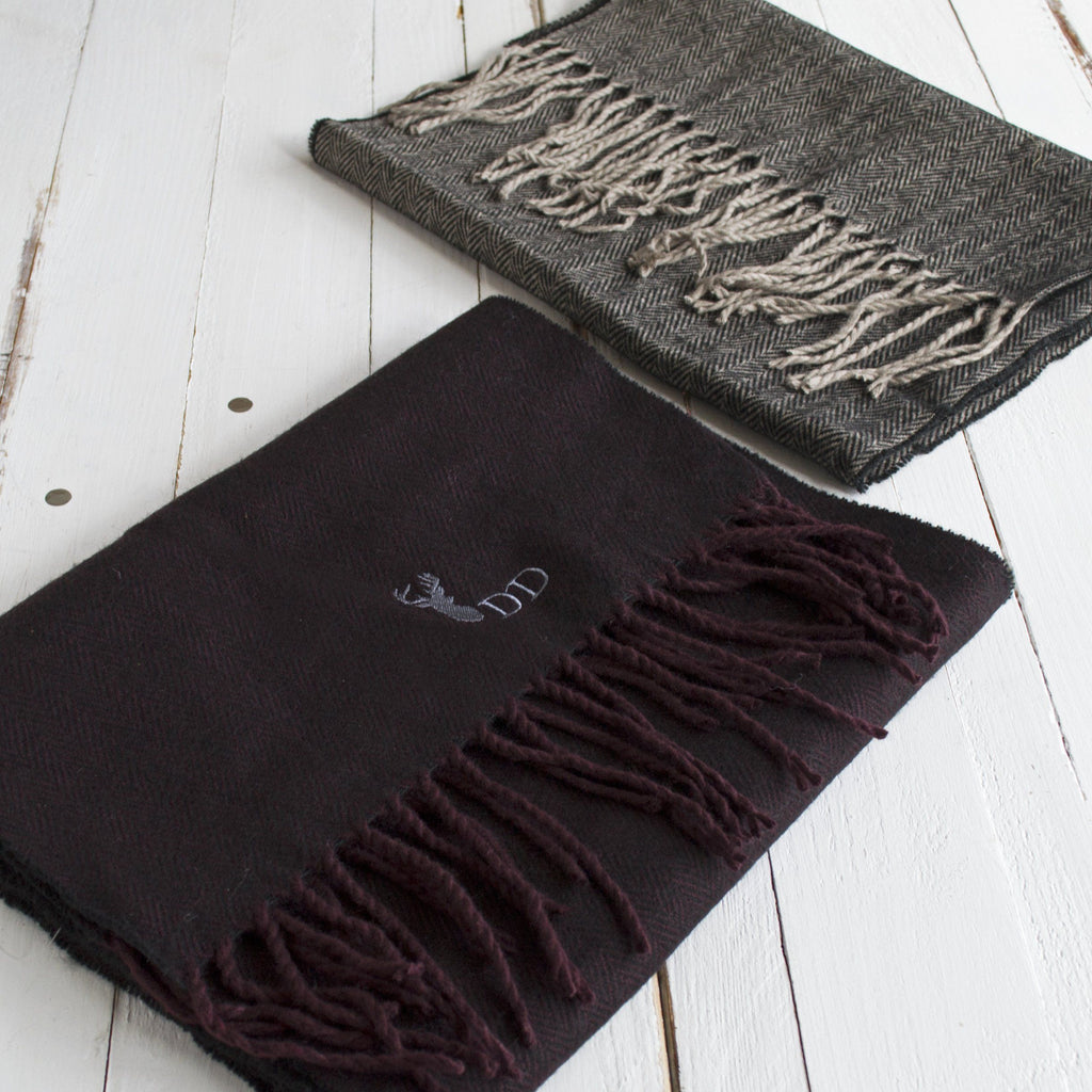 Personalised Men's Herringbone Stag Winter Scarf, scarf, - ALPHS