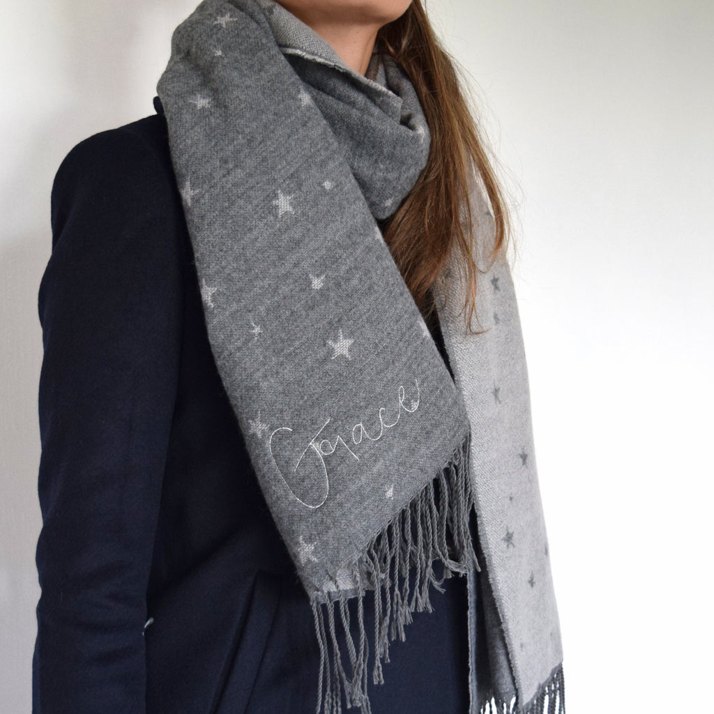 Embroidered Star Scarf, scarf, - ALPHS
