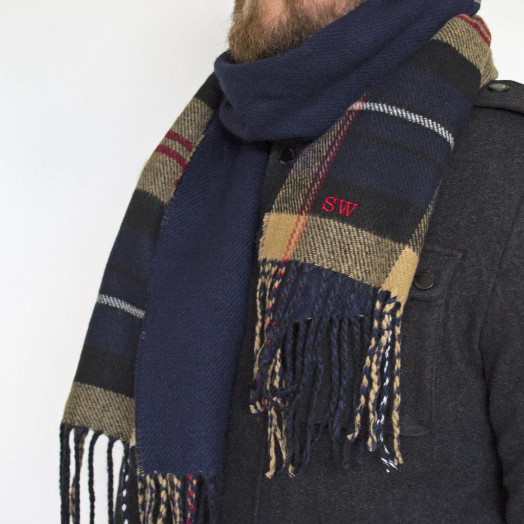 Personalised Men's Reversible Tartan Scarf, scarf, - ALPHS