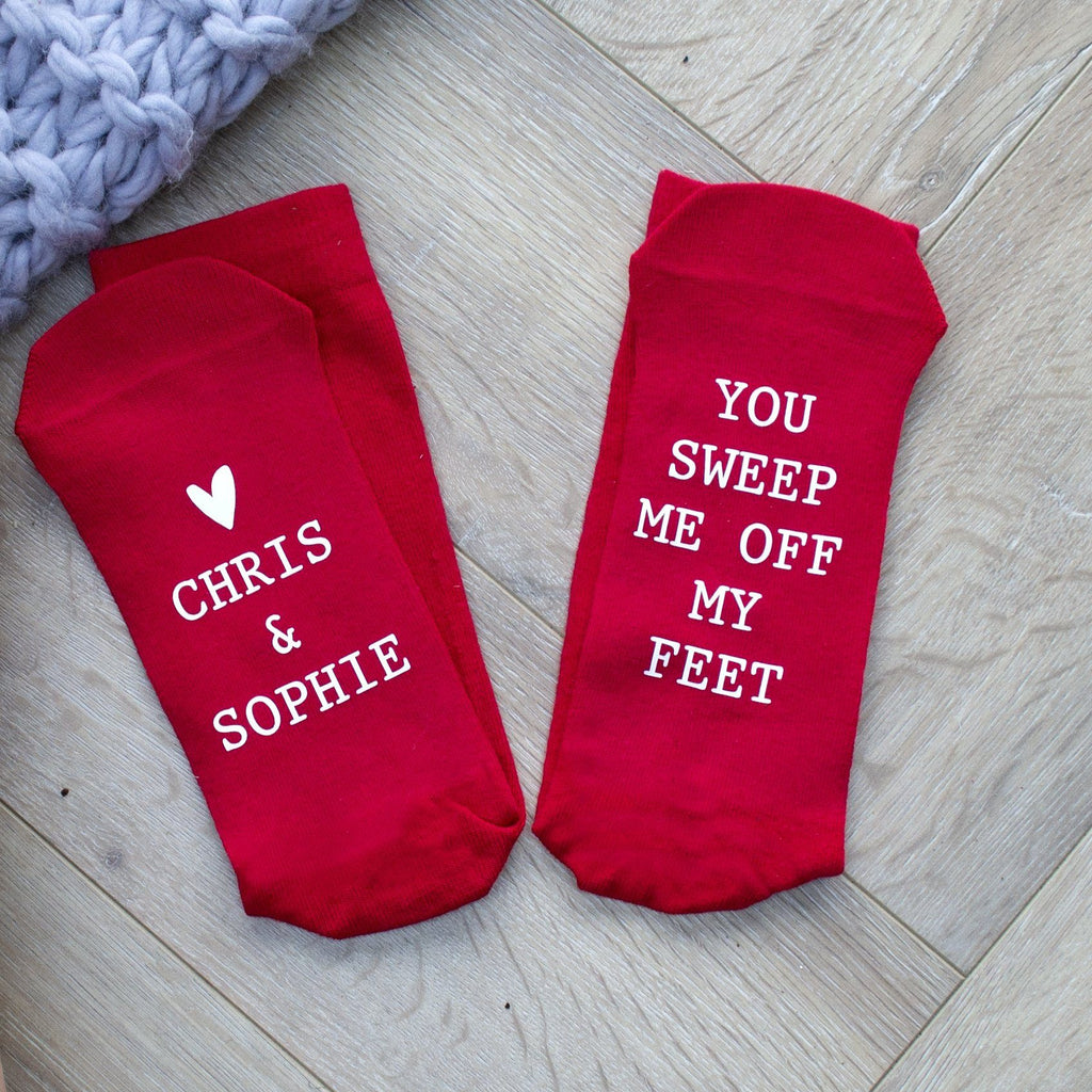 You Sweep Me Off My Feet Personalised Socks