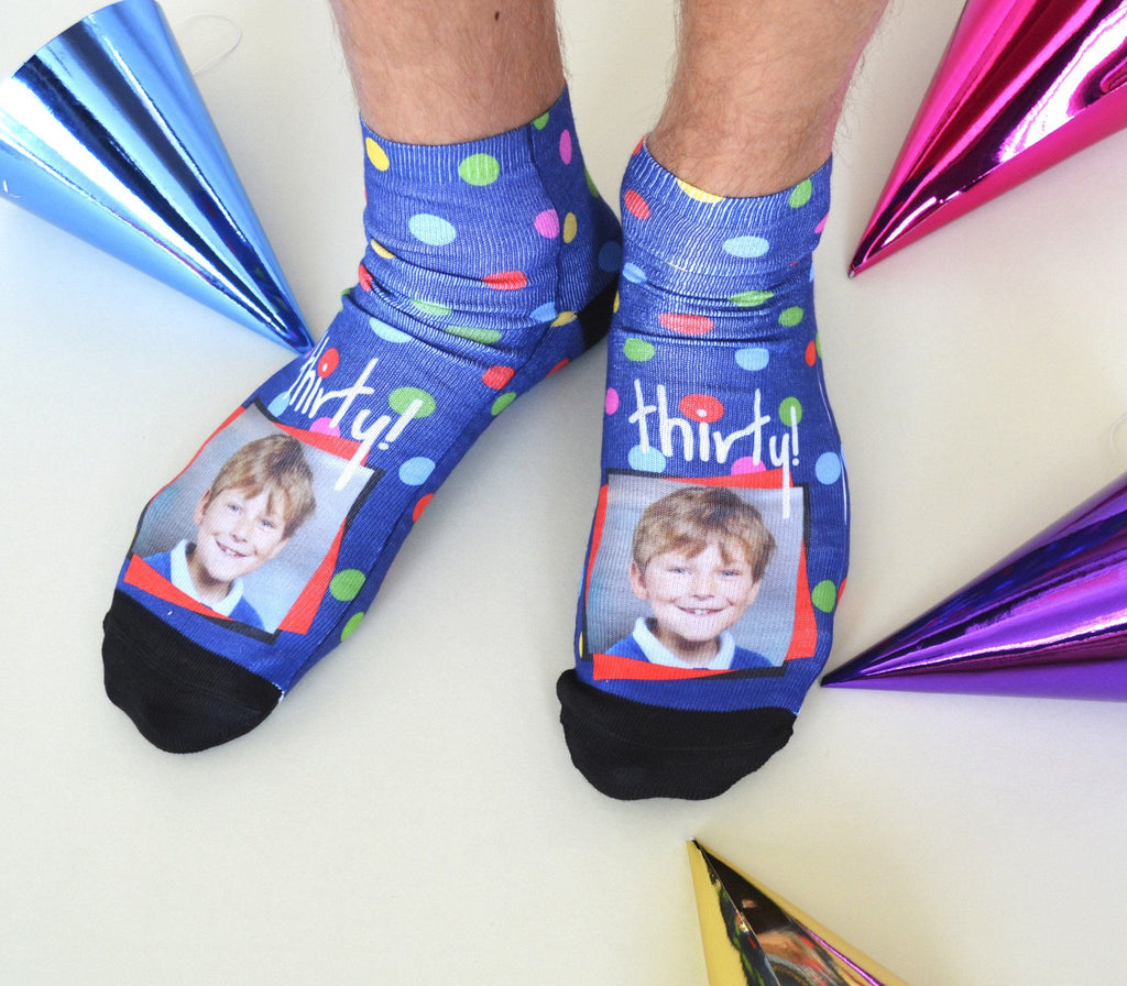 Dotty Birthday Photo Socks, socks, - ALPHS