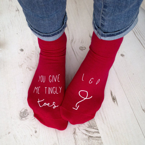 You Give Me Tingly Toes Personalised Socks