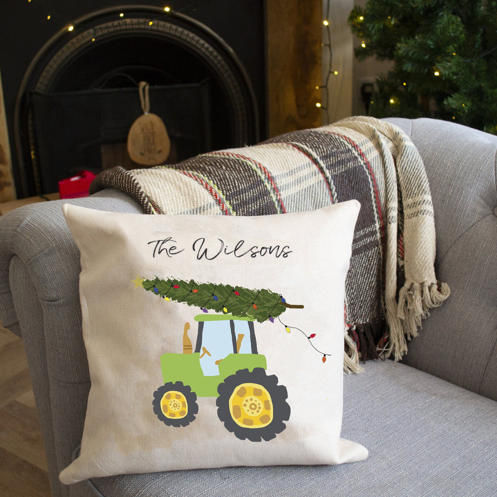 Personalised Family Christmas Tractor Cushion