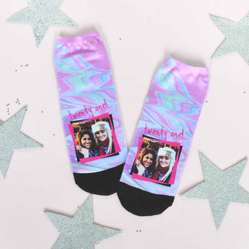 Women's Pink 21st Birthday Photo Socks, socks, - ALPHS