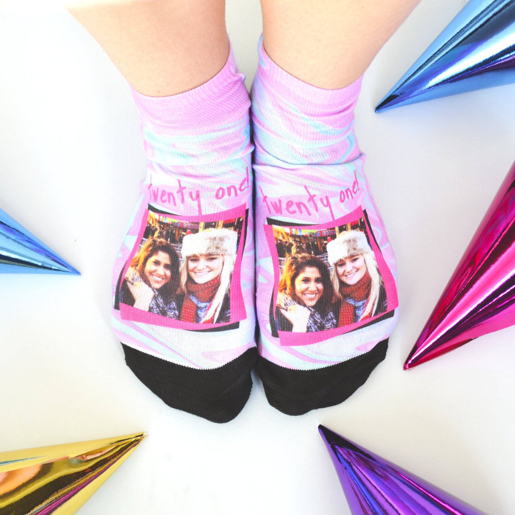 Women's Pink 21st Birthday Photo Socks