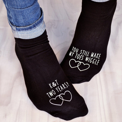 Personalised Anniversary Gift Socks - Toe Wiggle - ALPHS  - 1