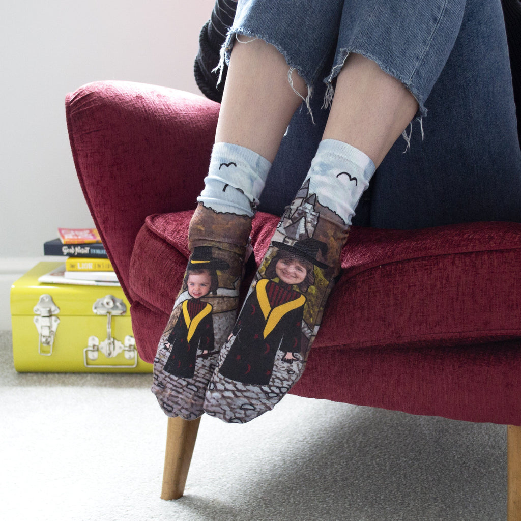 Personalised Wizard Photo Socks.