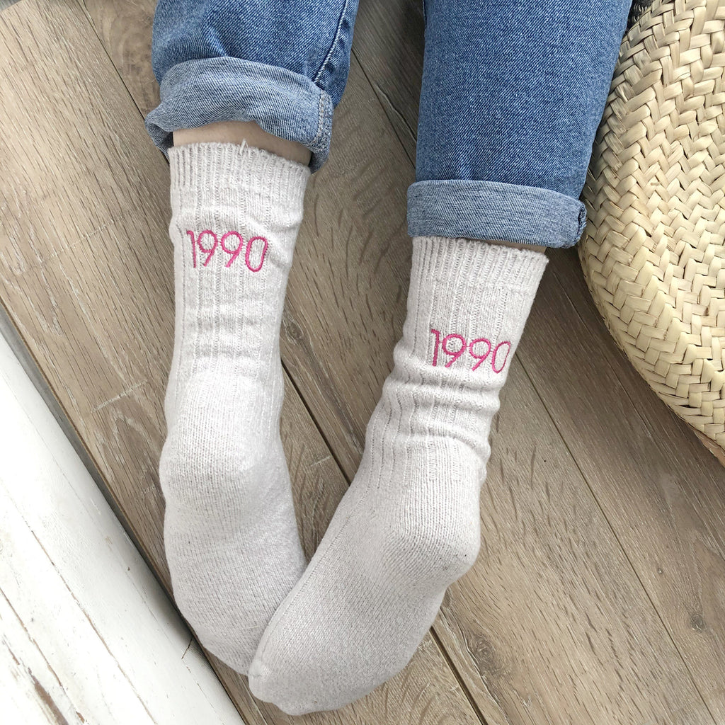 Embroidered Year Personalised Socks, Socks, - ALPHS