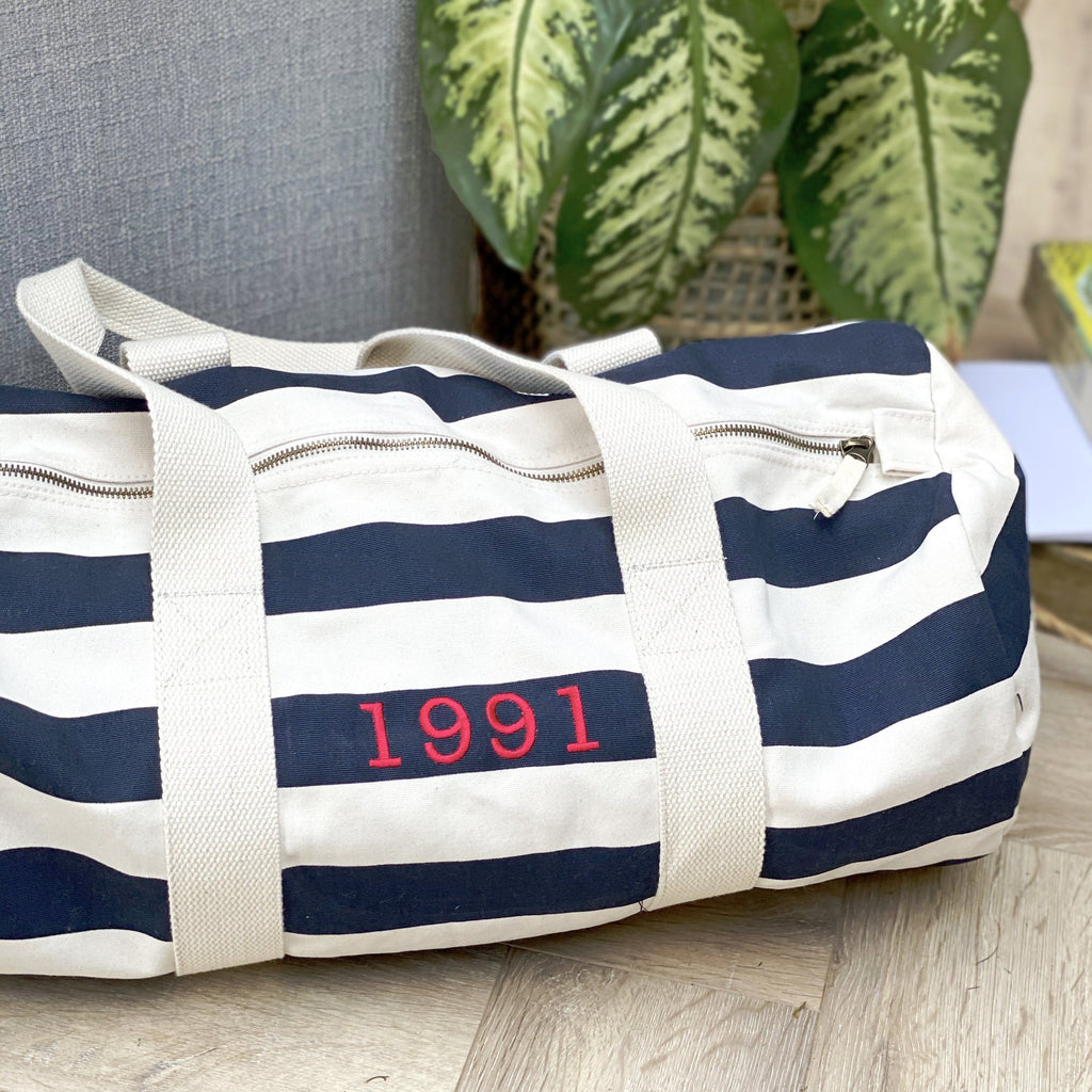 Embroidered Year Duffel Bag