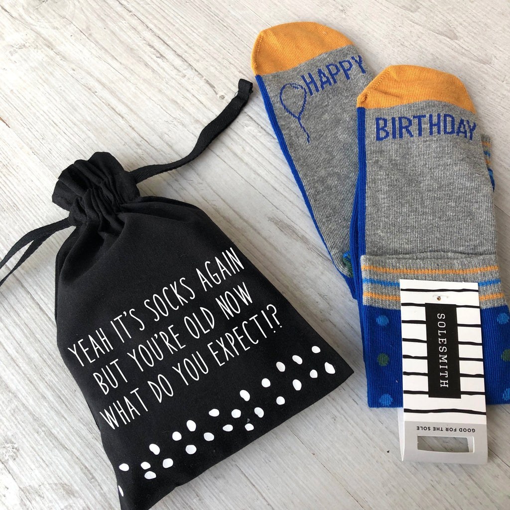 'Because You're Old' Men's Birthday Socks in a Bag, Socks, - ALPHS