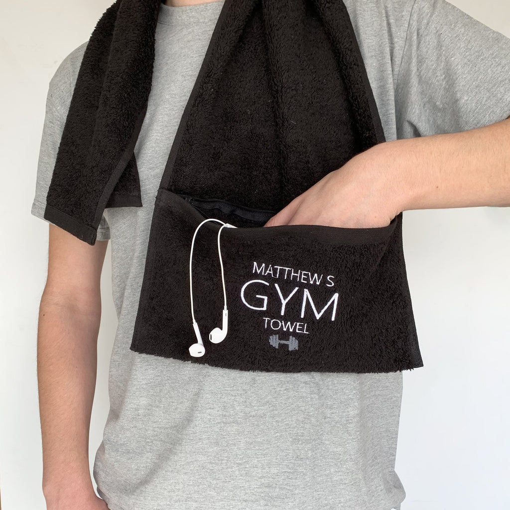 Personalised Zip Pocket Gym Towel, Sport Towel, - ALPHS