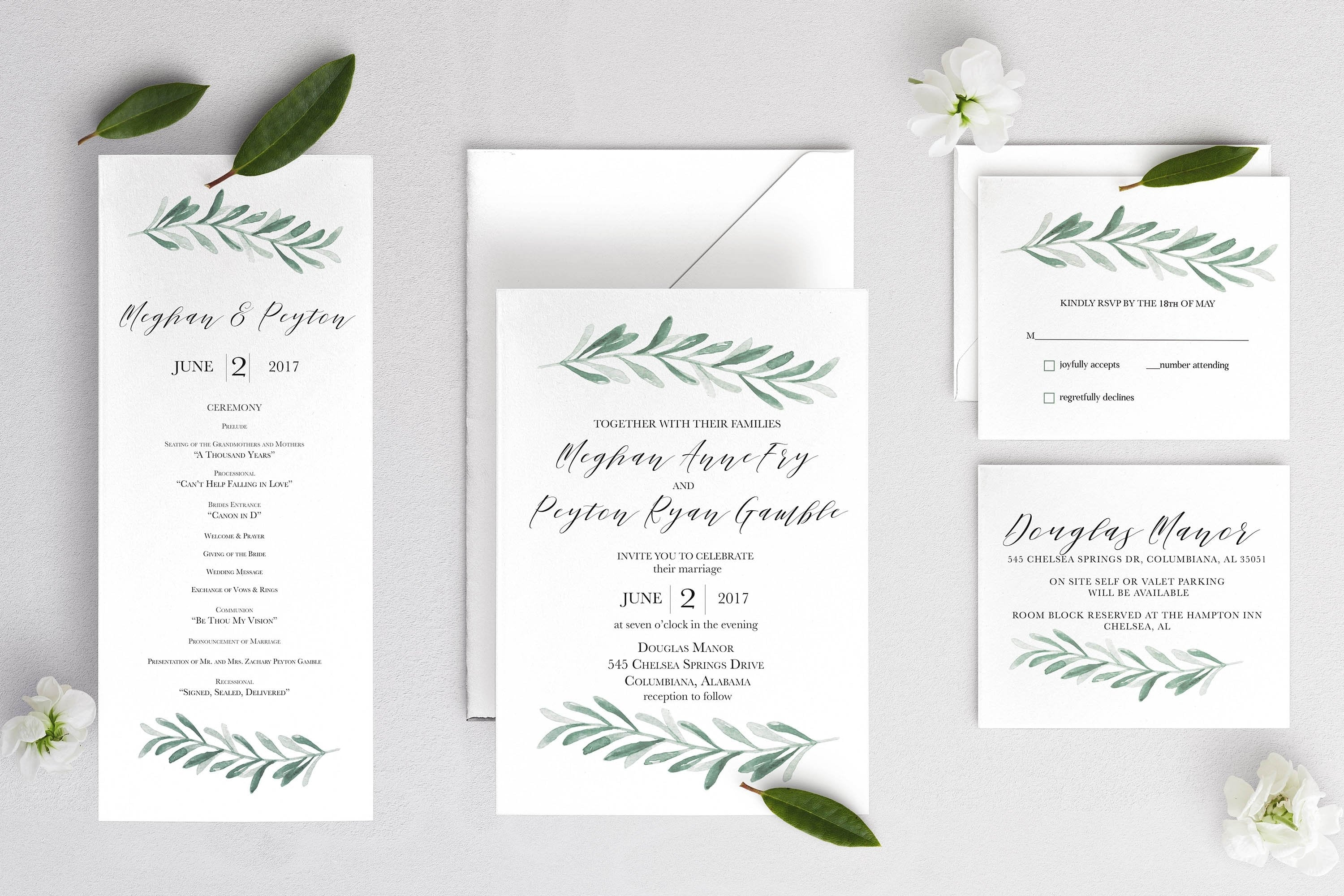 Customizable Meghan Invitation FULL SUITE Printing