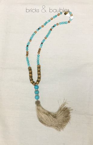 Turquoise, wood, and taupe tassel necklace - bricks & baubles - 1