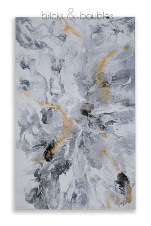 Black, White, & Gold Abstract Painting