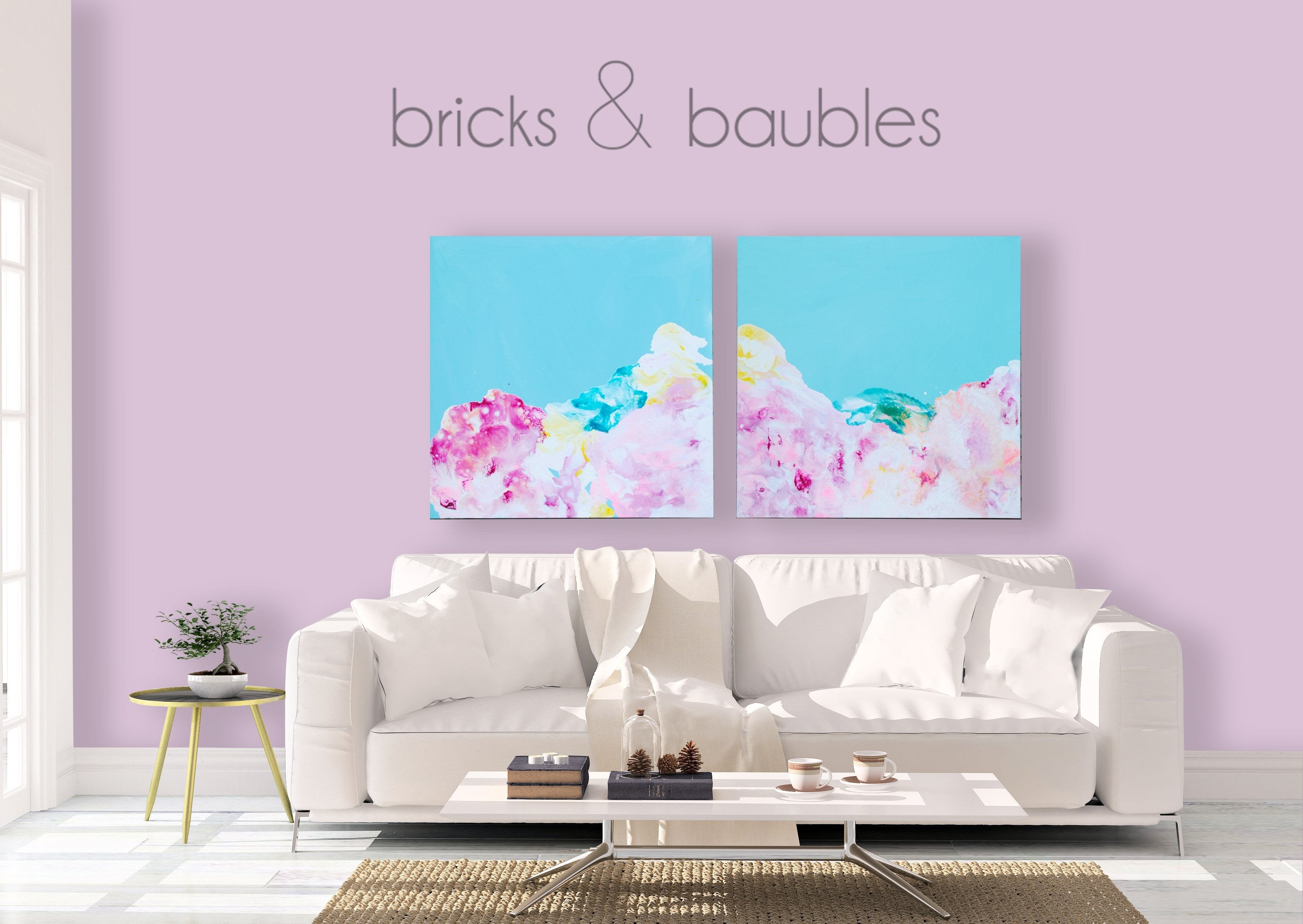 Rainbow Clouds on Blue diptych Painting