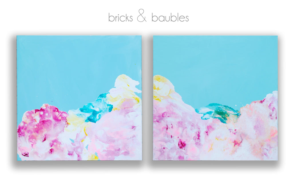 Dream Clouds on Blue diptych Painting