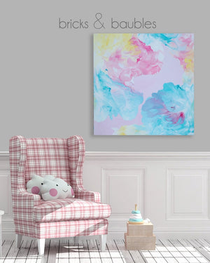 Happy Clouds on Pink Painting