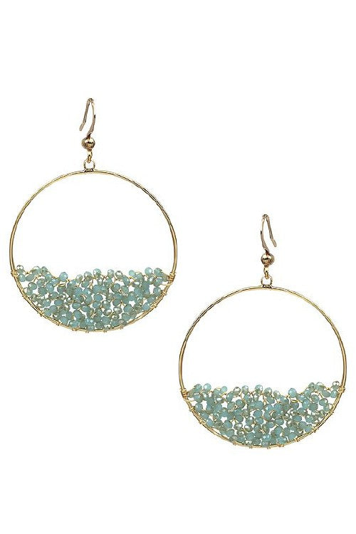 Half Beaded Hoop - Mint