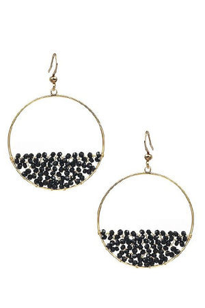 Half Beaded Hoop - Black