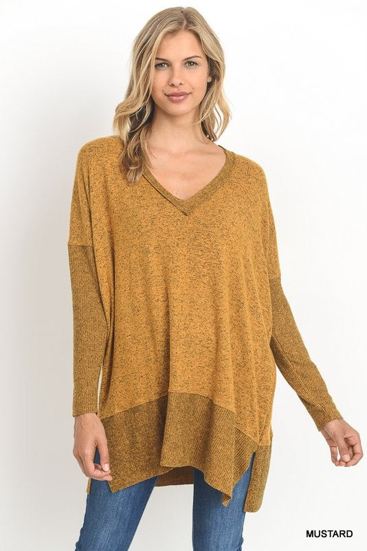 Long Lines Tunic Sweater Top - Mustard