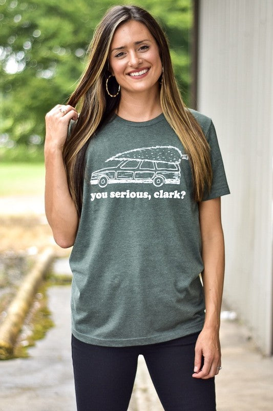 Are You Serious Clark Tee - Forest Green