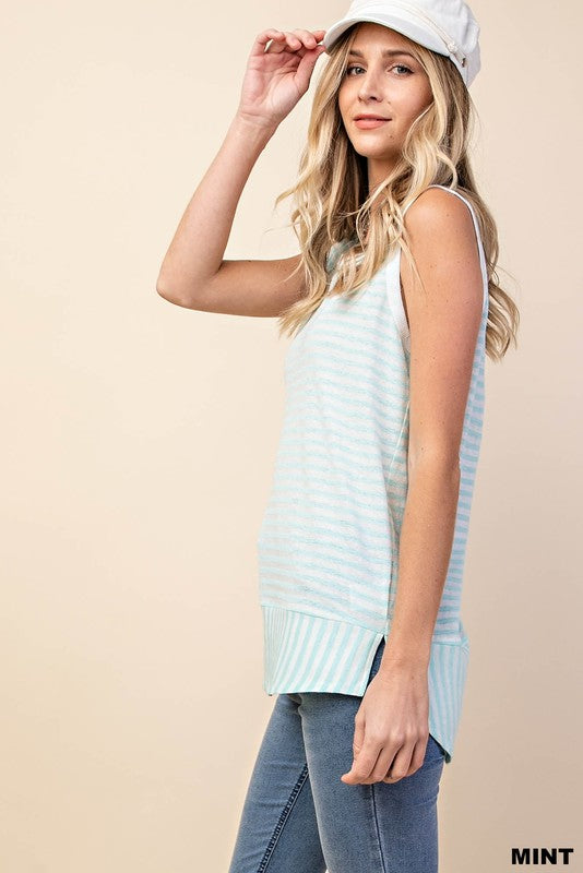 Round Hem Striped Tank