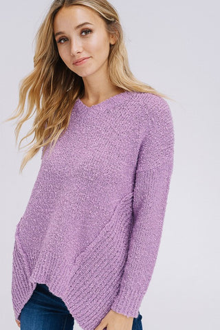 Asymmetrical Hem V-Neck Sweater