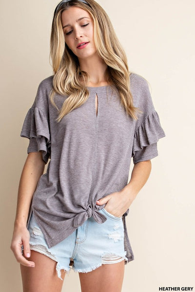 Ribbed Frills Tee - Grey