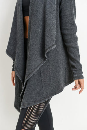 Mineral Washed Draped Cardigan - Black
