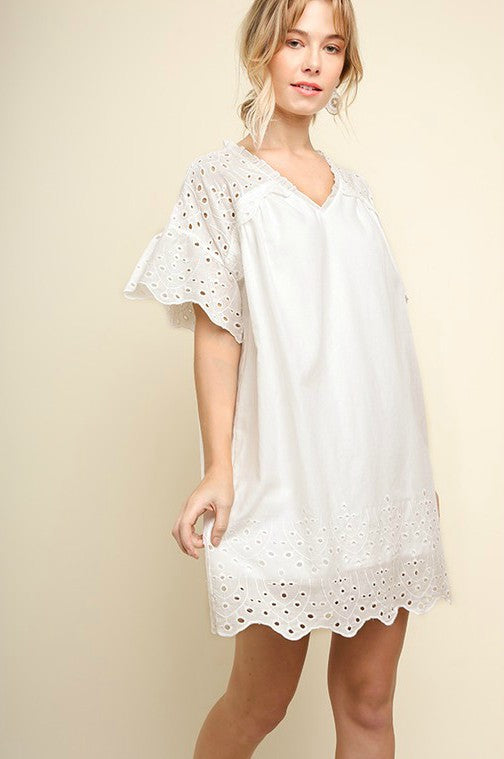 Bell Sleeve Eyelet Dress