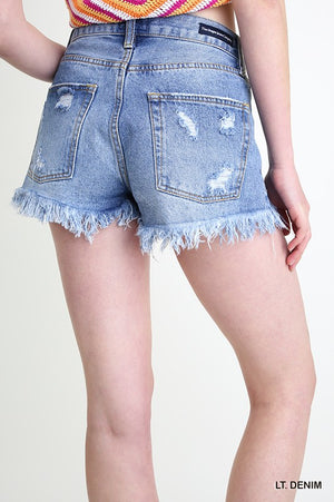Distressed Denim Jean Shorts