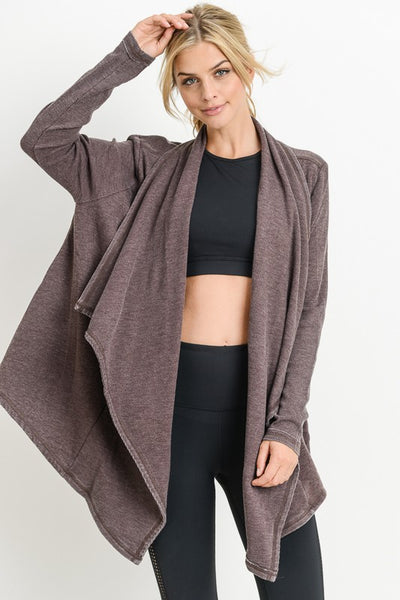 Mineral Washed Draped Cardigan - Raisin