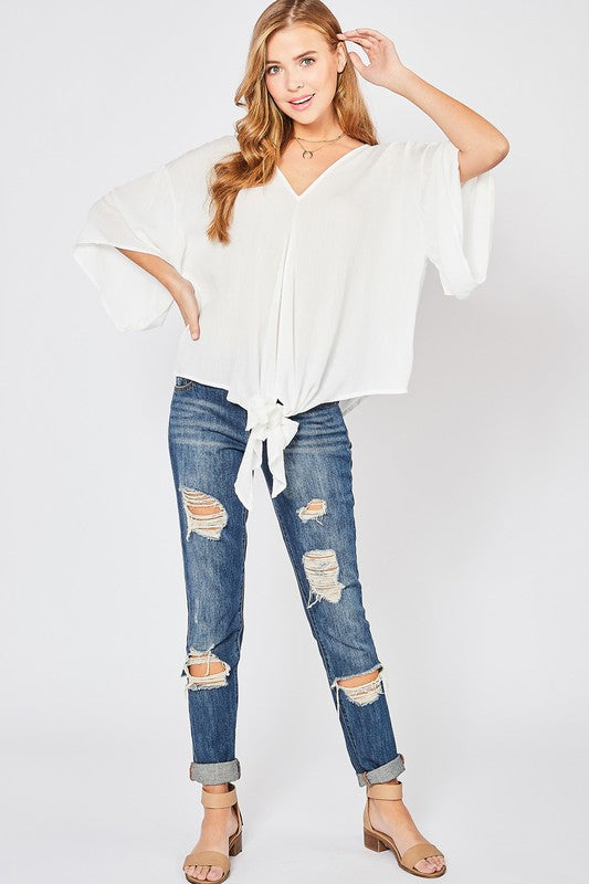 Front-Tie Blouse - Off White