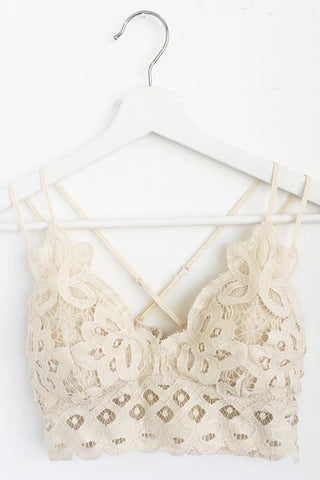 Lacy Criss Cross Bralette - Cream