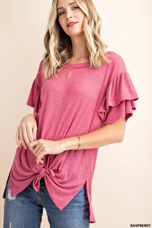 Ribbed Frills Tee - Raspberry