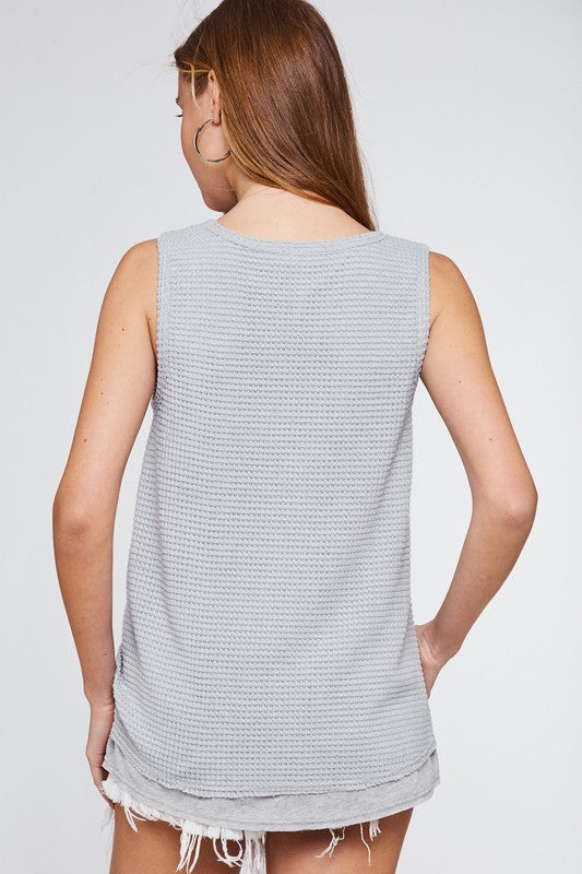 Doubling Up Waffle Tank - Grey