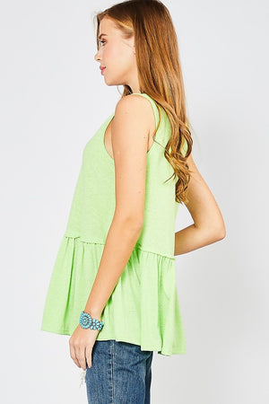 V-Neck Peplum Top - Lime Green