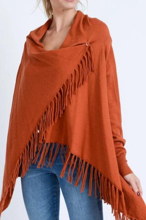 Wrapped In Fringe Cardigan - Rust