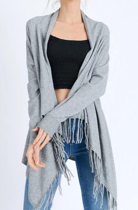 Wrapped In Fringe Cardigan - Heather Grey