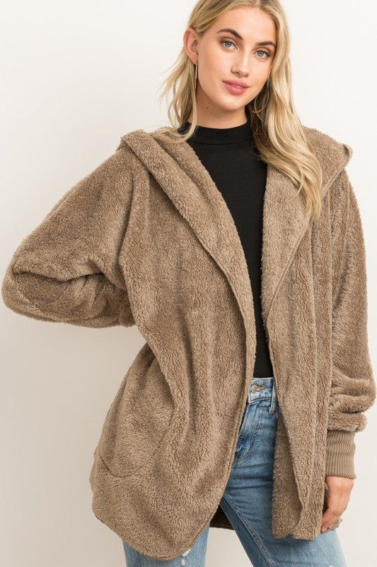 Soft As Fur Hooded Jacket - Ash