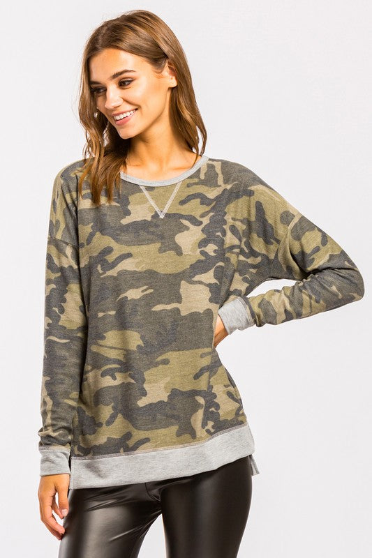 All is Fair Camo Contrast Top