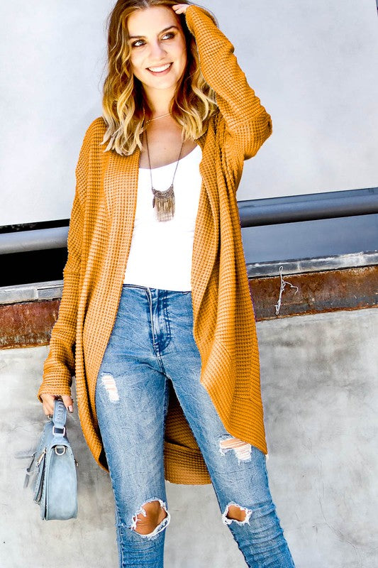 Changing Winds Waffled Cardigan - Mustard