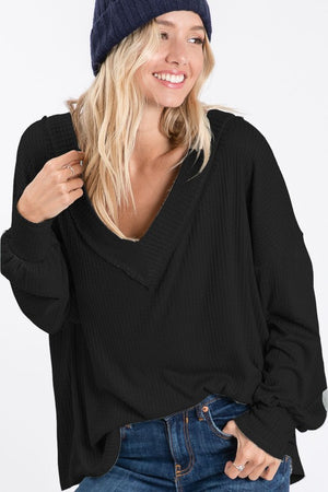 Morning Glory Thermal Knit Top - Black