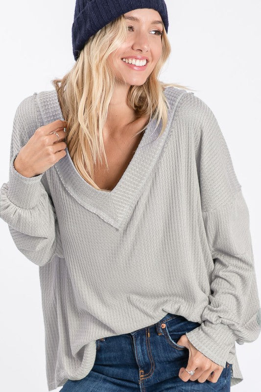 Morning Glory Thermal Knit Top - Heather Grey