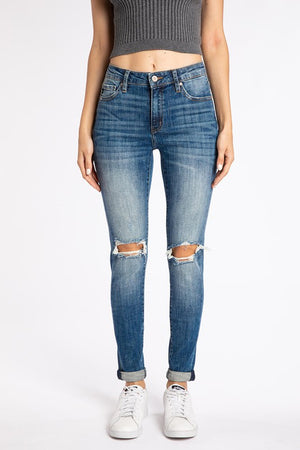 Laguna Blown Knees High Rise Skinny Jeans - Dark